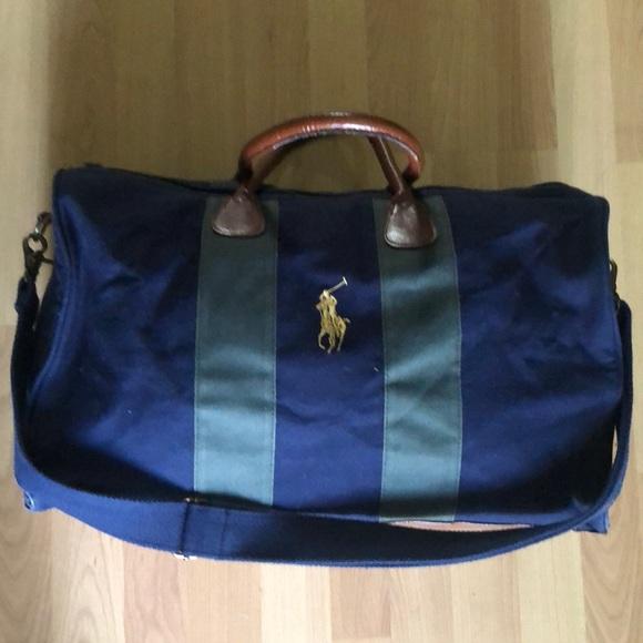 1ae35c2a9123 Ralph Lauren Polo Blue Green   Brown Duffle Bag. M 5b9296a15fef37908fe89556